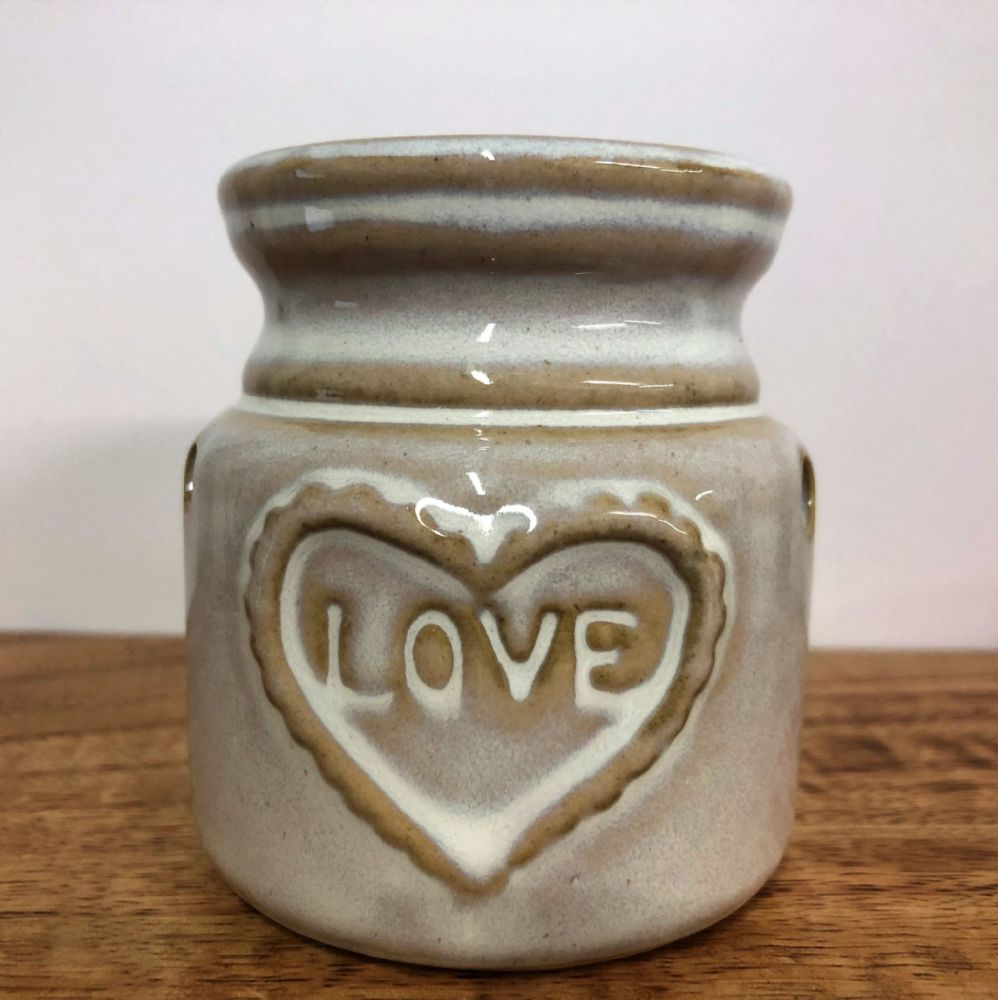 Creamy White Crazed Ceramic Love Pot Oil |  Wax Melt Burner